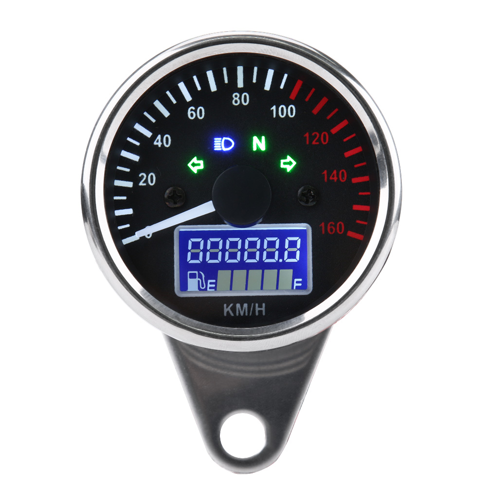 Universal 0~160KM/H Motorcycle waterproof Digital LED LCD Speedometer Tachometer Speed Gauge Retro Chrome ABS shell image