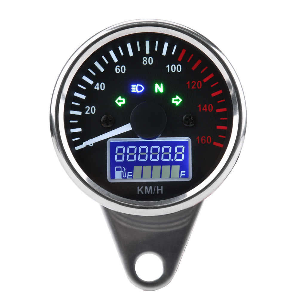 Universal Motorcycle Digital LED LCD Speedometer Tachometer Speed Gauge Retro Chrome for All Motorcycles with 12V Power Supply