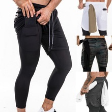 Men Joggers 2 in 1 Leggings Compression Pants Security Pockets Gym Pants Sports Built-in Pockets Hips Zipper Fitness Pants men pockets decoration pants