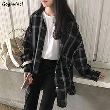 Camisas femininas xadrez manga longa chique solto oversize primavera verão outwear casual mulheres à prova de sol bf retro harajuku blusas novo