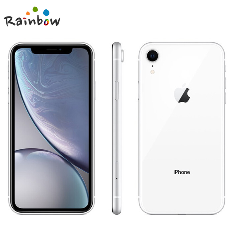 "Apple iphone xr original desbloqueado, tela com retina líquida de 6.1 ""totalmente lcd 64gb/128gb/256 smartphone apple 4g lte, rom de 4"