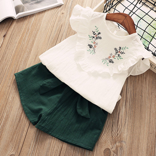 Children suit 2020 summer girl Korean Sets sleeveless doll collar shirt wide leg shorts 2Pcs Clothes 5
