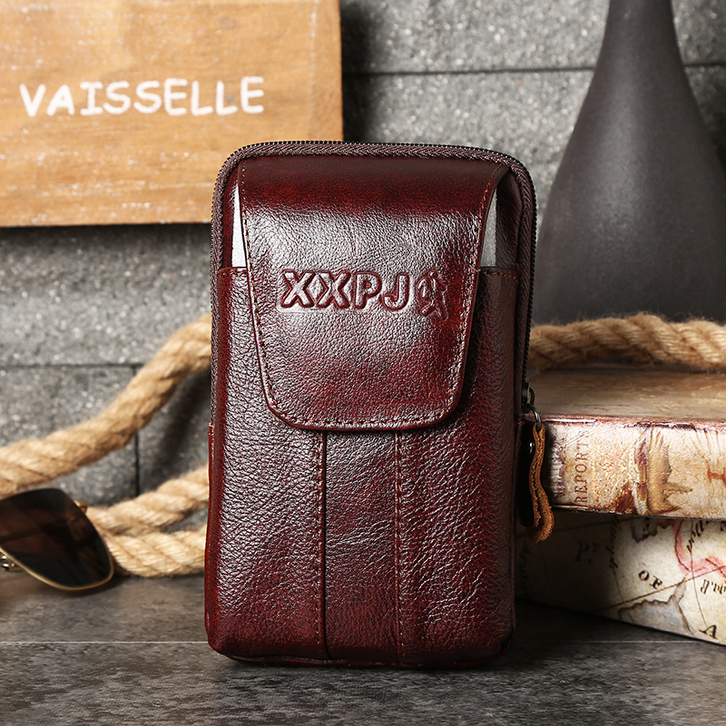 New Style Multi-functional Verticle Wear Leather Belt Magnetic Snap Mobile Phone Waist Bag Classic Cowhide Men Wallet