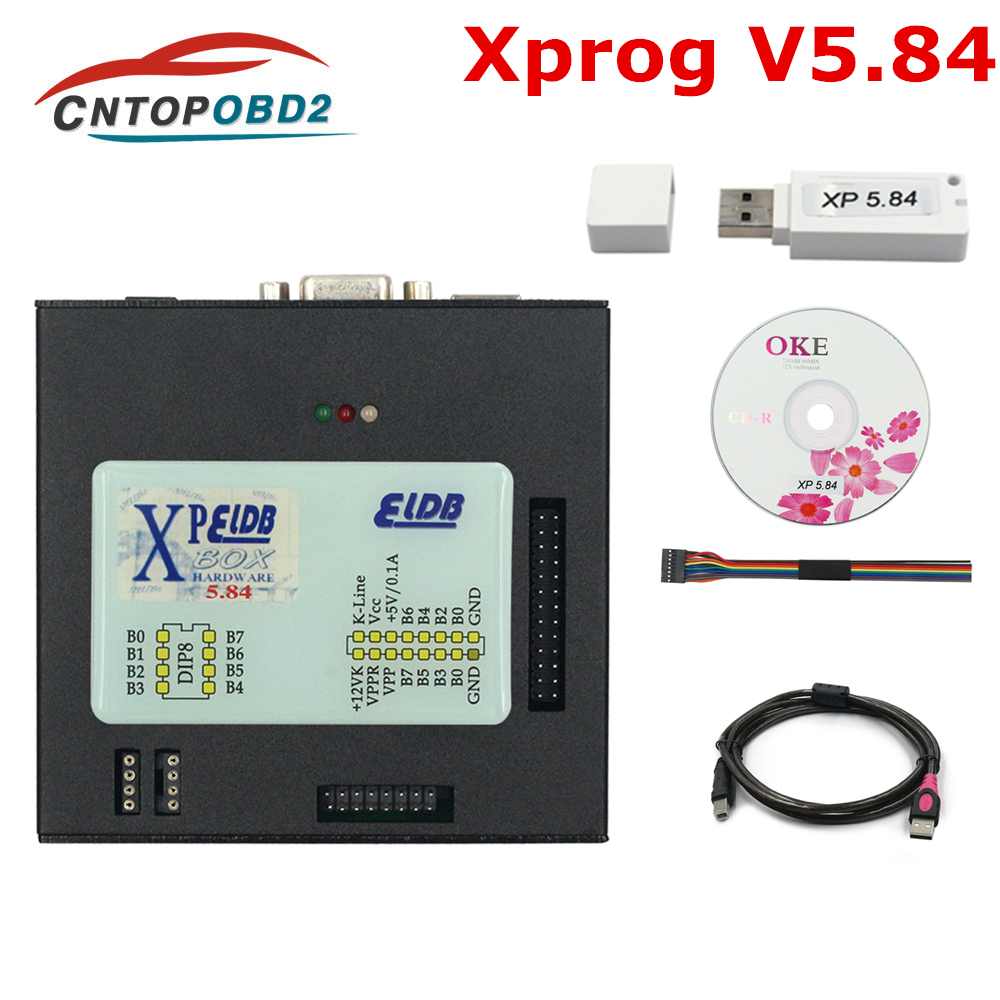 Newest Version <font><b>Xprog</b></font> V5.84 <font><b>M</b></font> Metal Box Better <font><b>XPROG</b></font> CU Programmer Tool Add More Authorization Interface USB Dongle Full Adapter image