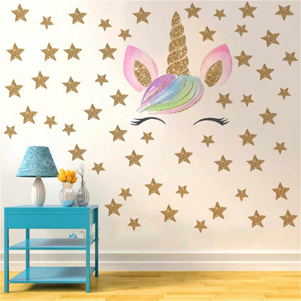 Cartoon Smile Unicorn Wall Sticker For Kids Room Bedroom Vinyl Diy Self Adhesive Wallpaper Gold Stars Art Decals Nursery Decor Wall Stickers Aliexpress