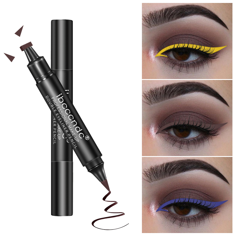 Brand Black Eye Liner Liquid Pencil Quick Dry Triangle Waterproof Double-ended Eyes Make Up Kit Stamp Wing Eyeliner Pencil TSLM2