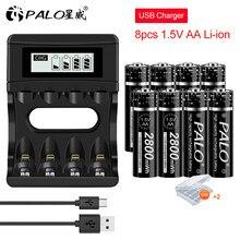 PALO – batterie lithium-ion Rechargeable, 2800 mAh, 1.5V, AA 1.5V, pour lampe de poche, télécommande de jouet