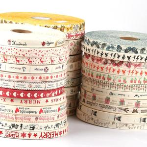 5 yard Christmas Ribbon Decoration Cotton Webbing Snowflake Elk for festival party gift packaging