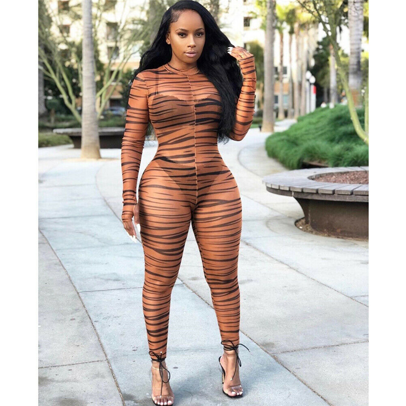 Sexy Women Long Sleeves Mesh Sheer Print Bodycon Playsuit Jumpsuit Patchwork Leopard Club Party Fashion Long Jumpsuit