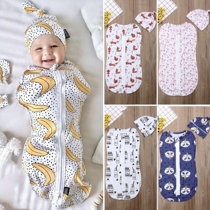 Goocheer Baby Sleeping Bags Newborn Baby Cotton Zipper Swaddle Blanket Wrap Sleeping Bag +Hat 2pcs Size 0-6M