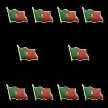 10PCS Portugal Country Flag Lapel Pin Enamel Made of Metal Souvenir Hat Men Women Patriotic Portuguese croatia country flag lapel pin made of metal souvenir hat men women waving epoxy flag lapel pin