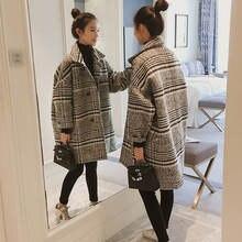 Новое Стильное шерстяное пальто Женское средней длины на осень