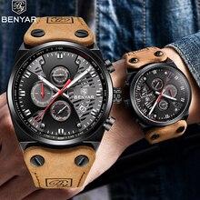 Benyar שעון גברים יוקרה 2019 למעלה מותג Mens עמיד למים שעונים גברים של ספורט שעון יד איש עור להקת שעון Relogio masculino