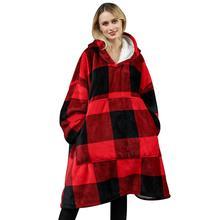 Zima obszerna bluza z kapturem bluza koc TV puszysty polar koc z rękawami bluzy gruba krata bluza bluzy tanie tanio CN (pochodzenie) Other Oversized Hoodie Sweatshirt Blanket Pościel flannel lamb wool