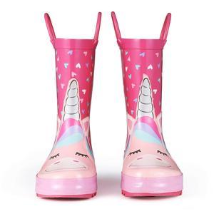 Image 3 - KomForme Kids Rain Boots Girl Pink Heart Unicorn Rubber Boots Waterproof Overshoes Water Shoes Rubber Shoes Kids Boots Girls