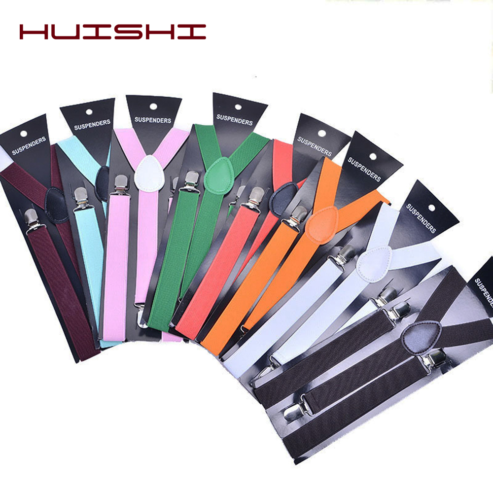 HUISHI Suspenders Bow Tie Plain Black Suspenders For Men Navy Red Burgundy Solid Braces Unisex Strap Women Suspenders Bow Tie
