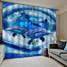 Bedroom 3D Window Curtain Luxury living room decorate Cortina Blue ocean curtains underwater dolphin curtain