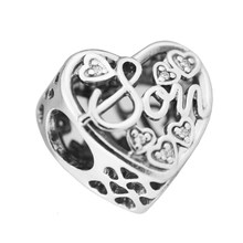 Authentic 925 Sterling Silver Son and Mother Love Heart Charm Bead fit European Beads Charms Bracelets Jewelry(China)