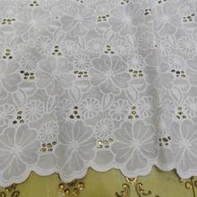 Белая швейцарская хлопковая вуаль кружевная ткань с ушками для