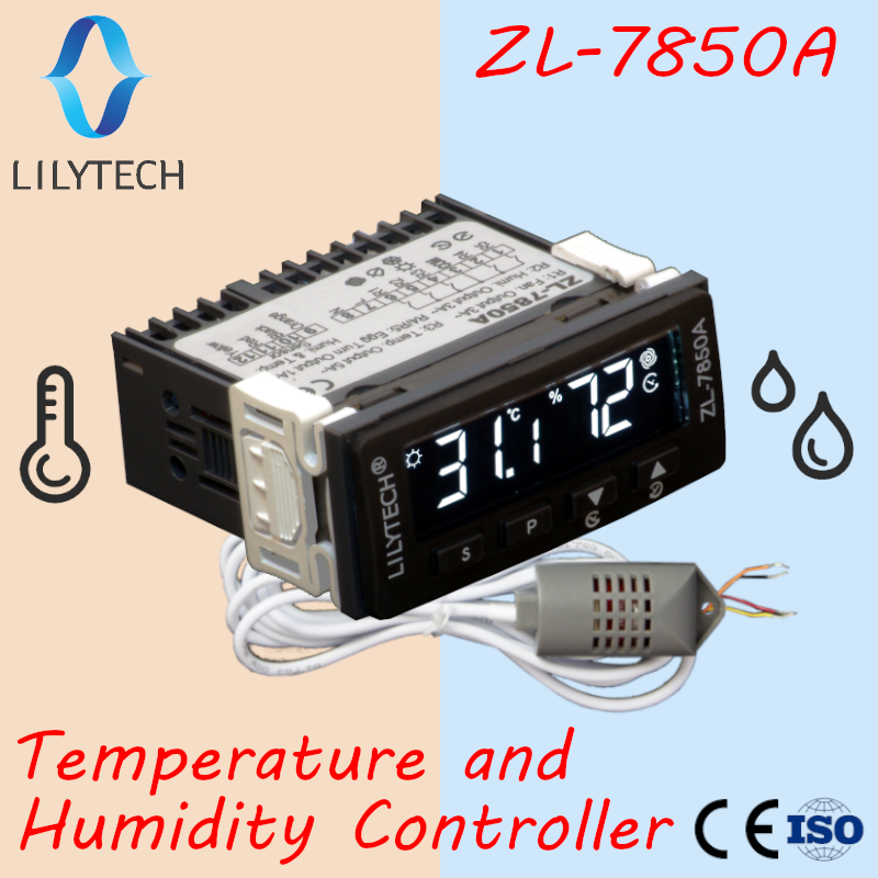 ZL 7850A  Lilytech  Incubator  Cheese Sausage Deposit  Wet Sauna Control  Humidity Temperature Controller  Hygrostat Thermostat|Temperature Instruments| |  - title=