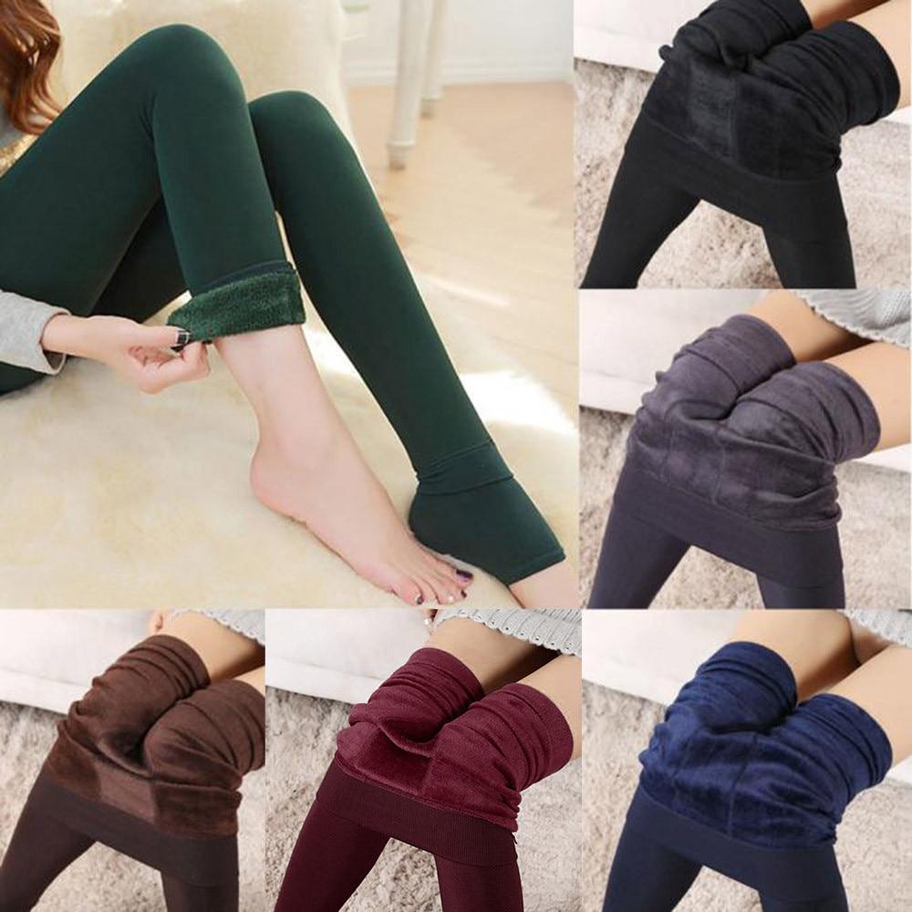Plus Velvet Winter Leggings Women Thick Warm Fleece Lined Thermal Stretchy Leggings Pants High Waist Large Size Women Leggings