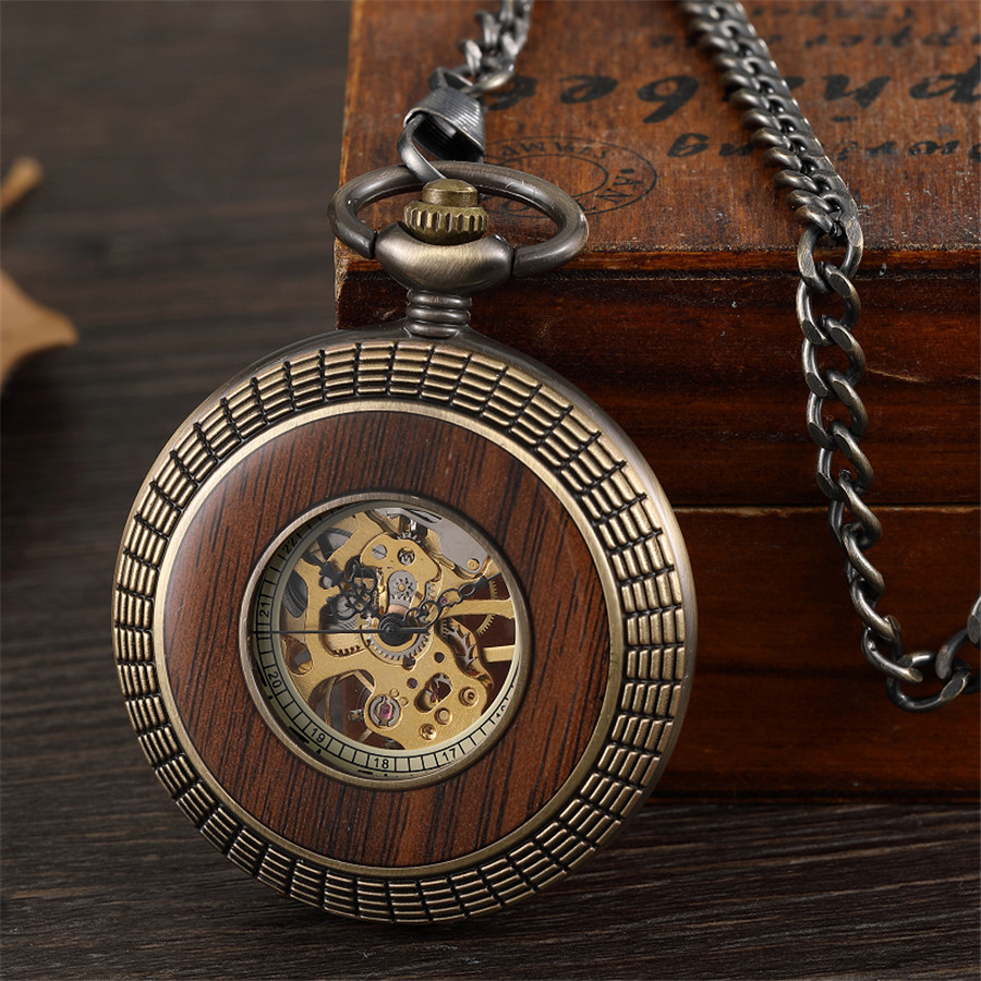 Retro Hollow Skeleton Steampunk Solid Wood Circle Design Mechanical Pocket Watch Men Roman Numerals Hand Wind Fob Chain Clock