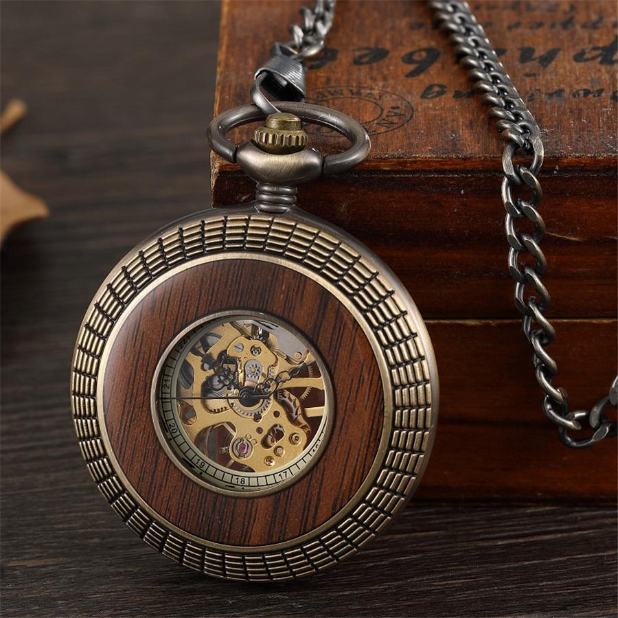Retro Hollow Skeleton Steampunk Solid Wood Circle Design Mechanical Pocket Watch Men Roman Numerals Hand Wind Fob Chain Clock