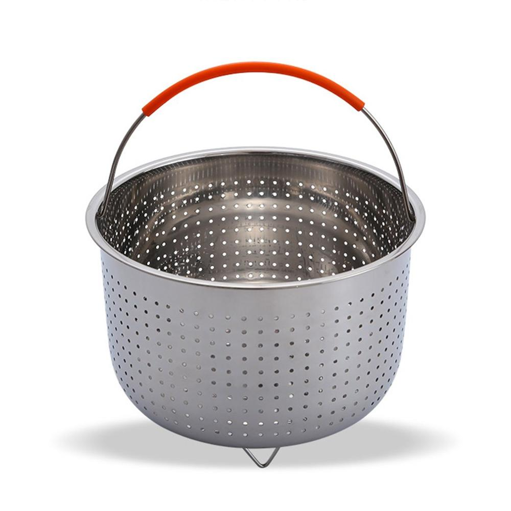Thicken Deepening Multi-function Stainless Steel Basket Fruit Plug-in Silicone Handle Pressure Cooker Steam Basket