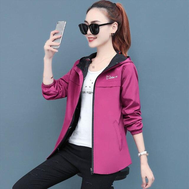 2020 printemps automne femmes veste mode à capuche deux côtés usure dessin animé impression Outwear femmes manteau ample femme coupe-vent hauts P369 2