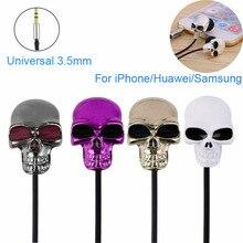 Cool Skull In-ear Earphone Earbuds Metal Headset Cool Skeleton Headphone For iPh