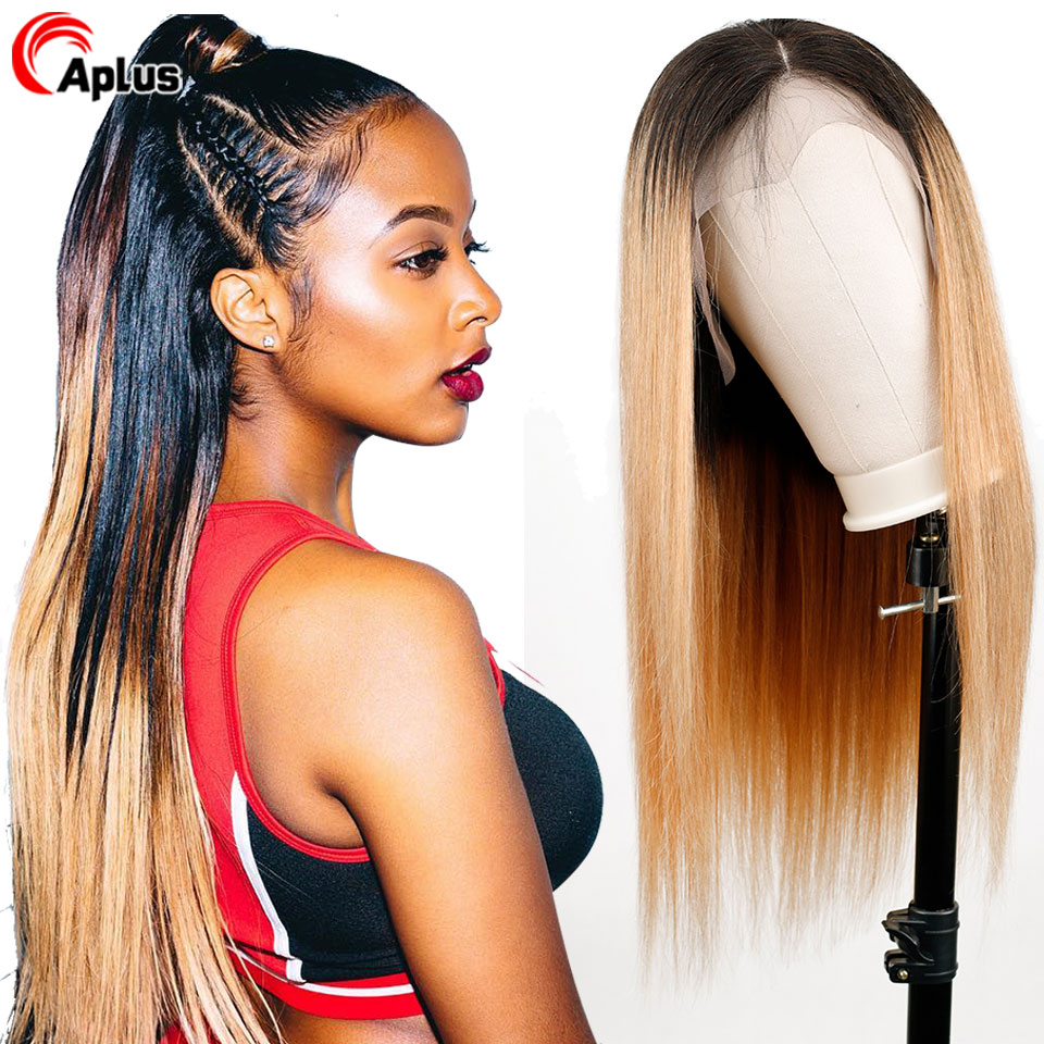 Glueless Lace Front Human Hair Wig With Baby Hair Straight Peruvian Hair 150% Denisity Remy Hair 13*4 Lace Frontal Wigs T1b/27