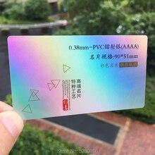 Visit-Cards Business-Card-Printing Hologram Plastic Custom-Design Glitte 100pcs-Per-Lot