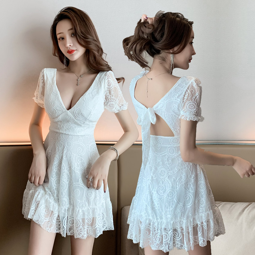 White lace dress summer sexy temperament small ladies Office Lady  Lace  Polyester  Knee-Length  Sheath