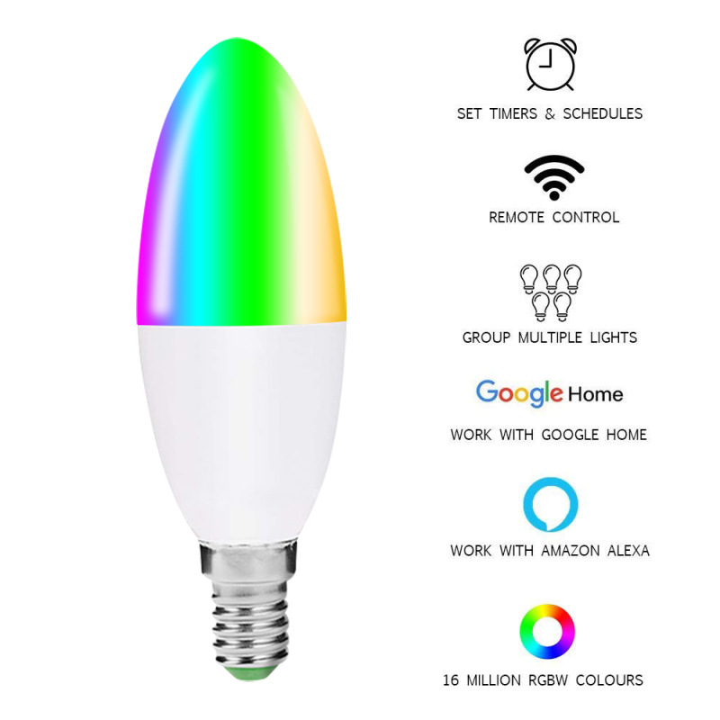 Candle Shape Smart RGB Wifi Light Bulb E27 E14 B22 Intelligent LED Light Bulb Dimmer Lamp Compatible For Alexa Google Home