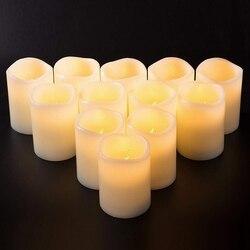 Модный набор из 12 (D: 3 дюйма X в: 4 дюйма) беспламенные Свечи на батарейках светодиодный столб настоящий воск мерцающие электрические свечи с ...