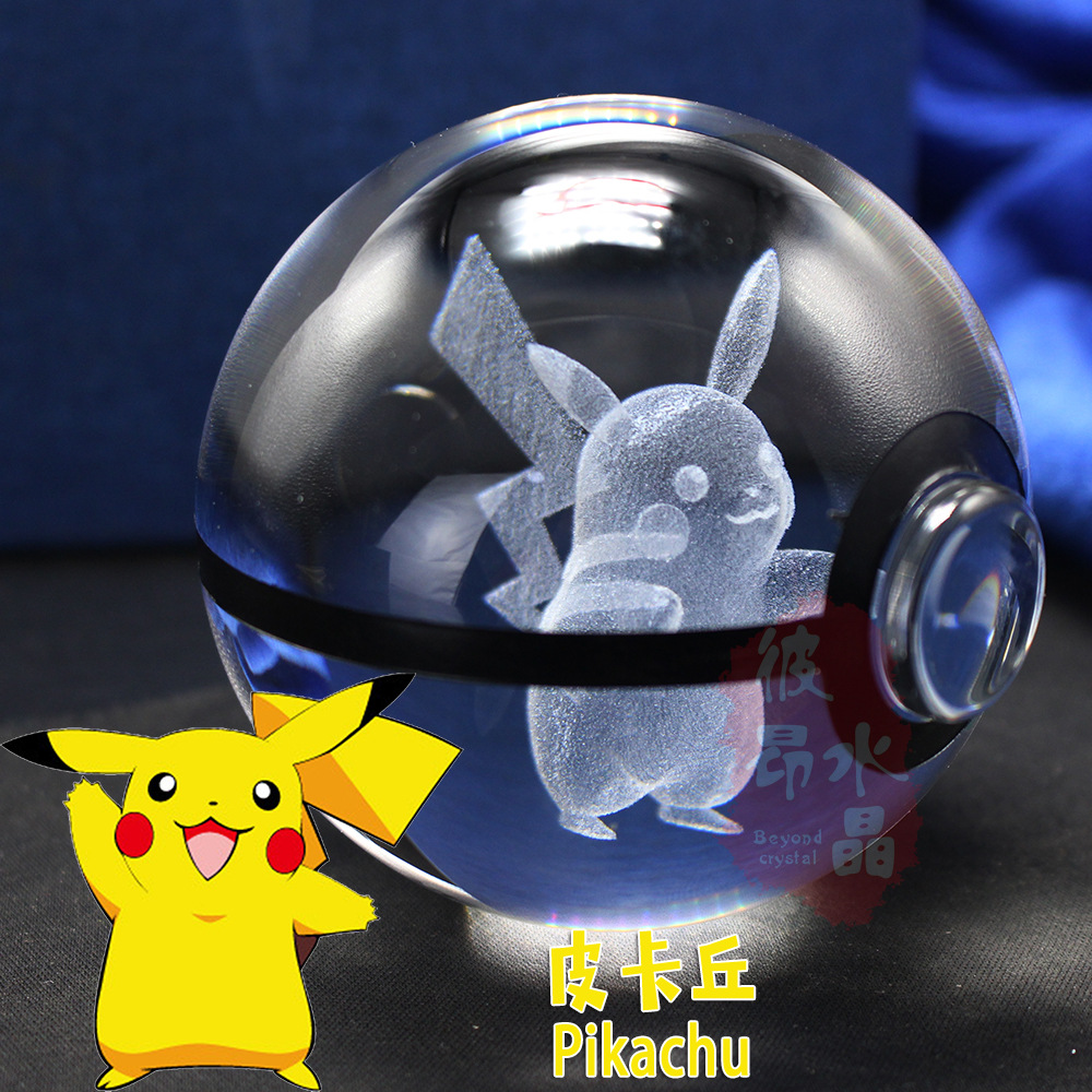 New 3D Laser Pokemon Go Crystal Ball Figurines With Pikachu Children's Educational Gifts Home Decoration Elf Ball