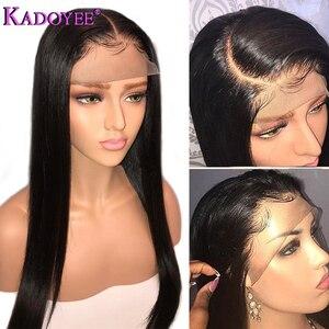 Image 4 - Perruque brésilienne longue courte Bob droite dentelle avant perruques de cheveux humains partie du milieu pré plumé noeuds blanchis Remy perruque de cheveux pour les femmes