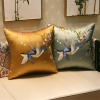 free shipping palace embroidery bird flower throw Pillow with inner Pillow satin cushion pillow chair decorative for gift