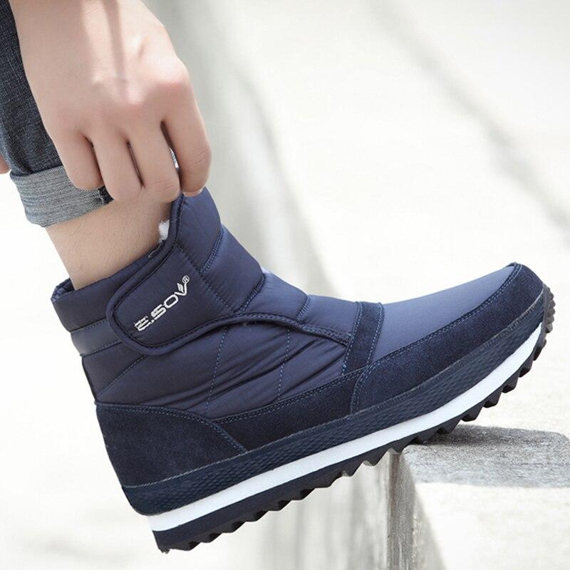 Men Boots 2019 Winter Shoes Men Ankle Boots Waterproof Non-slip Warm Plush Flat Men Snow Boots Big Size 39 - 45