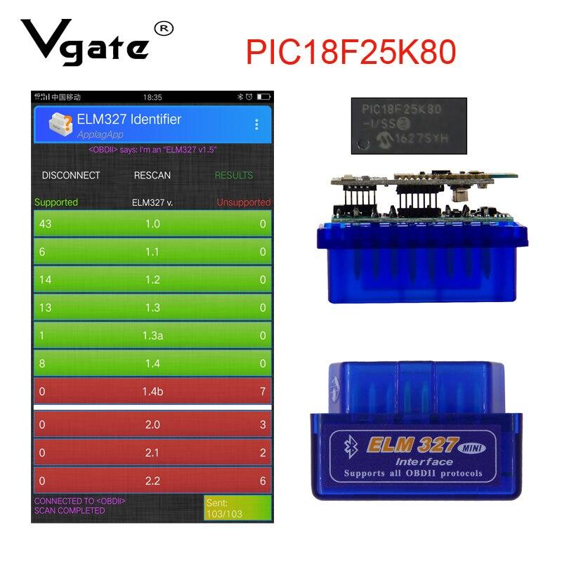 ELM327 V1.5 PIC18F25K80 Bluetooth OBD Scanner Diagnostic Tool Mini ELM 327 V1.5 OBD2 Car Code Reader For Android/Symbian OBDII