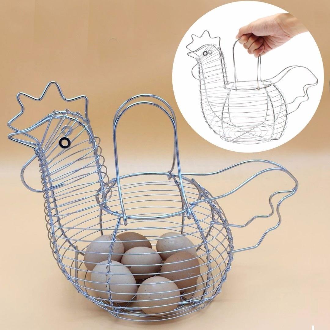 Куриное яйцо Корзина держатель инновационное большое металлической проволоки курица Shaped кухонная корзинка для хранения стойку Настенный ...