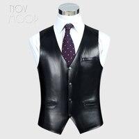 4Colors genuine leather vest 100% lambskin leather jacket men waistcoat business coat chaleco hombre colete LT603 Free shipping