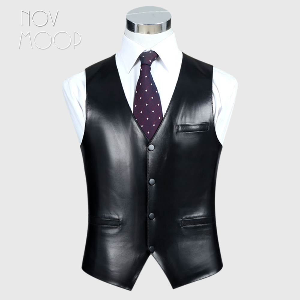 4Colors genuine leather vest 100 lambskin leather jacket men waistcoat business coat chaleco hombre colete LT603