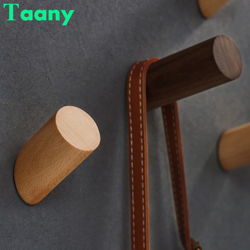 Natural Wood Clothes Hanger Wall Mounted Coat Hook Key Holder Hat Scarf Sundries Handbag Storage Hanger Bathroom Rack Organizer