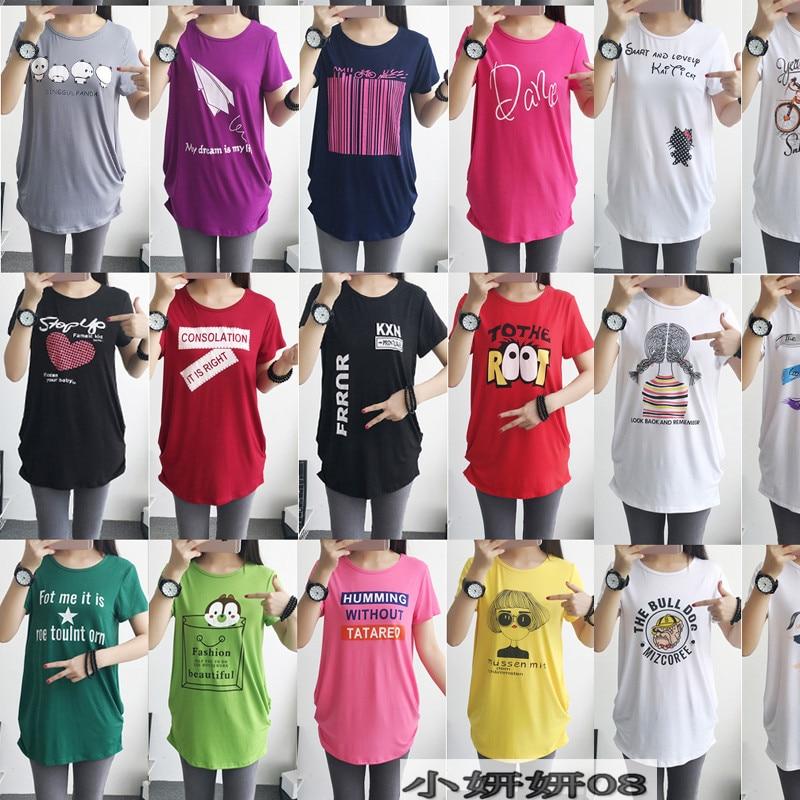 Moda verão impressão T-shirt de manga curta-Vestido de Maternidade Roupas Grávidas saia pijamas mulheres tamanho grande 11 cor