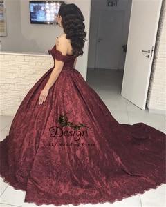 Image 5 - Кружевное бальное платье с открытыми плечами, винное бальное платье с аппликацией и бисером, бальное платье для девушек 15 лет