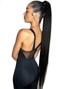 Xnaira Drawstring Ponytail Bun-Piece Hair-Extensions Blonde Fake-Hair Afro Clip-Ins Black