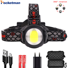 50000LM Adjustable Outdoor Headlamp USB Rechargeable Headlight T6+COB LED Head Light White Red Light 9 Modes lamp 18650 battery стоимость