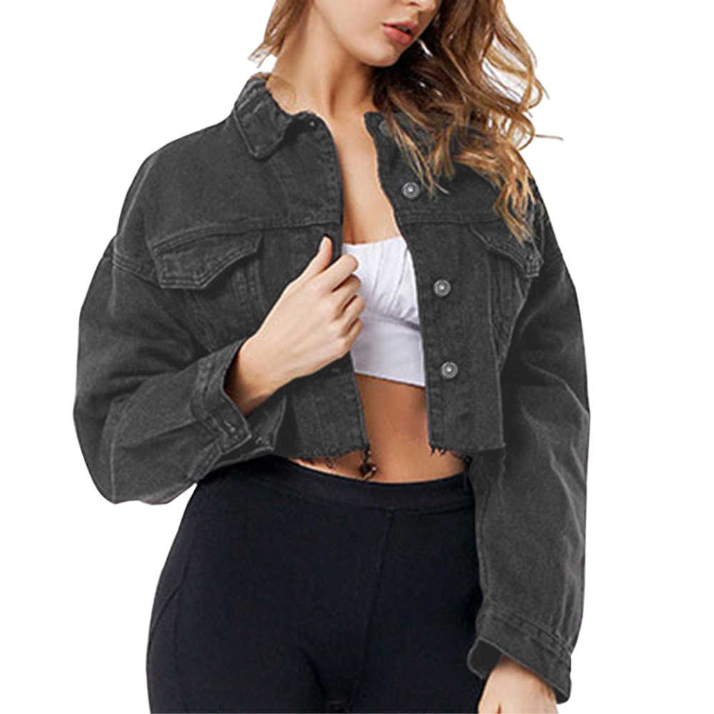 여성 드롭 숄더 짧은 데님 자켓 밑단 찢어진 자르기 streetwear femme 하이 스트리트 싱글 브레스트 레트로 자르기 코트