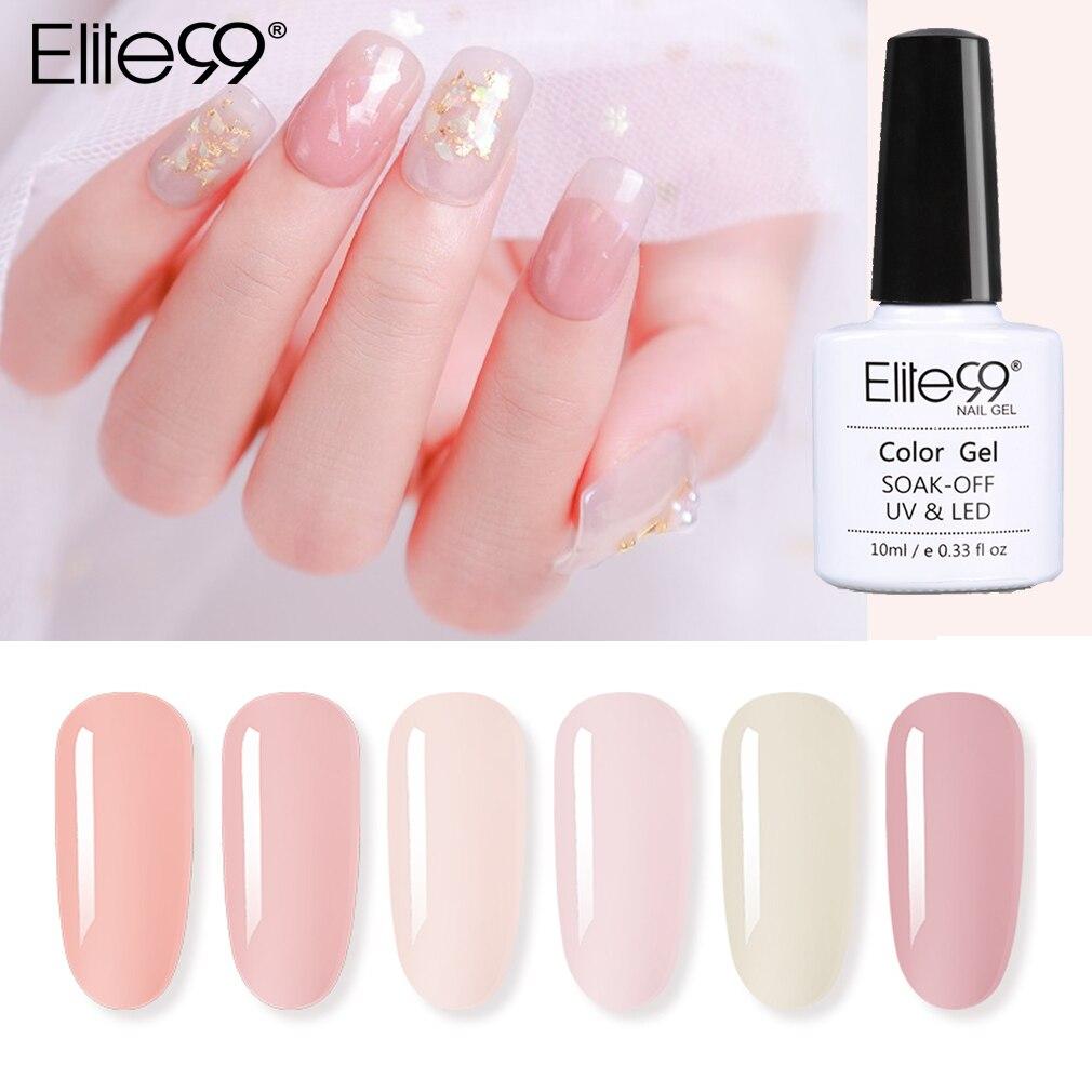 Elite99 10 мл, нюдовый Цвет желе УФ-гель для ногтей Прозрачный Гель-лак полу постоянный лак для ногтей основа верхнее покрытие для ногтей, полуст...